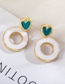 Fashion White Love Color Contrast Stitching Glazed Round Earrings