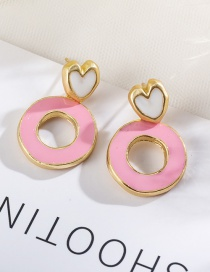 Fashion Pink Love Color Contrast Stitching Glazed Round Earrings