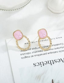 Fashion Pink Square Resin Stitching Earrings