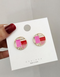 Fashion Rose Red Contrast Geometric Stitching Stud Earrings