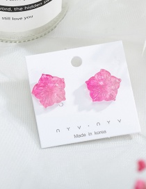 Fashion Rose Red 925 Silver Needle Gradient Acrylic Flower Stud Earrings