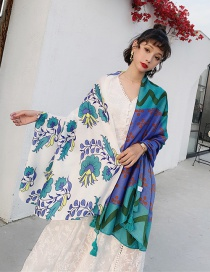 Fashion Contrast Flowers Cotton And Linen Color Flower Silk Scarf