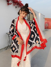 Fashion Diamond Lattice Cotton And Linen Printed Scarves