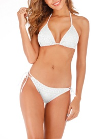 Fashion White Mesh Tie Triangle Bikini