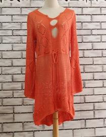 Fashion Orange Knitted Blouse