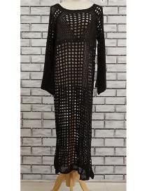 Fashion Black Openwork Knit Blouse