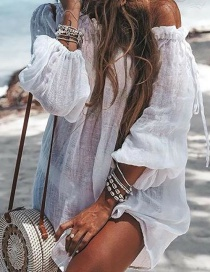 Fashion White Solid Color Drawstring Blouse