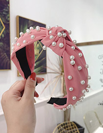 Fashion Rose Red Cloth Beaded Knotted Wide-brimmed Headband