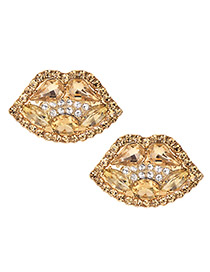 Fashion Champagne Alloy Diamond Lip Studs