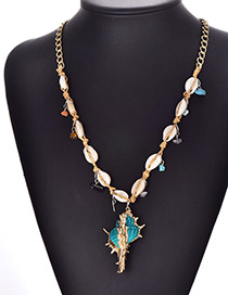Fashion Blue Alloy Resin Shell Conch Necklace
