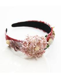 Fashion Pink Flower Bud Bow With Diamond Pearl Drop Tassel Headband