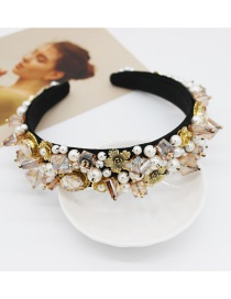 Fashion Champagne Geometric Crystal Full Diamond Headband