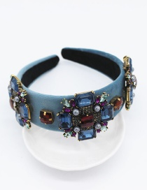Fashion Blue Cross Gemstone Geometric Headband