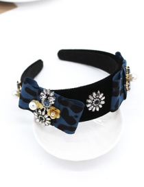 Fashion Blue Leopard Geometric Diamond Pearl Flower Headband