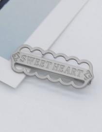 Fashion Silver Metal Geometric Letter Cutout Hairpin