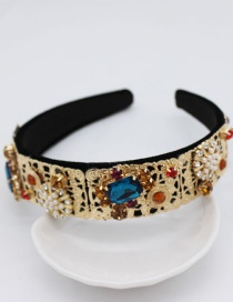 Fashion Gold Metal Edge Full Diamond Geometric Gem Headband
