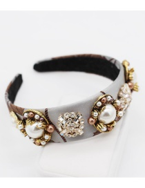 Fashion Gray Flower Cloth Large Pearl Geometric Rhinestone Flower Headband