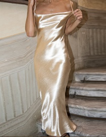 Fashion Gold Sling Satin Fishtail Dress