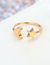 Fashion Moon Gold Star Moon Lightning Round Open Ring