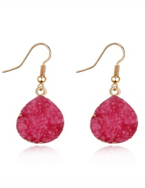 Fashion Red Imitation Natural Stone Oval Earrings