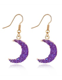 Fashion Purple Natural Stone Crescent Resin Earrings