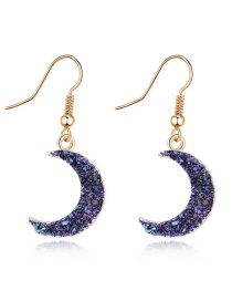 Fashion Black Natural Stone Crescent Resin Earrings