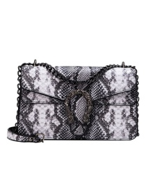 Fashion Black Pu Alloy Snake Shoulder Bag
