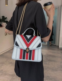 Fashion White Pu Alloy Stripe Contrast Lock Single Shoulder Bag