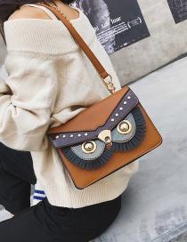 Fashion Brown Pu Fringed Eye Shoulder Bag