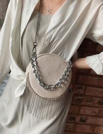 Fashion Gray Pu Fringed Round Shoulder Bag