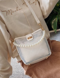 Fashion White Pvc Pearl Mother Bucket Shoulder Bag