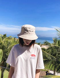 Fashion White Embroidered Letter Fisherman Hat