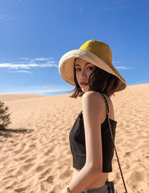 Fashion Yellow Beige Wide-brimmed Double-sided Sun Protection Cap