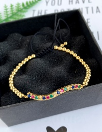 Fashion Gold Copper Inlaid Zircon Rope Beaded Curved Bracelet