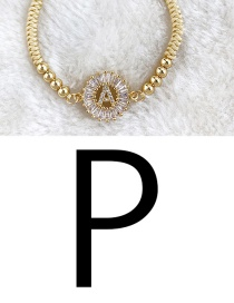 Ginger Yellow Copper Inlaid Zircon Rope Beaded Letter P Bracelet