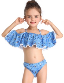 Fashion Blue One-shouldered Ruffled Child Split Swimsuit