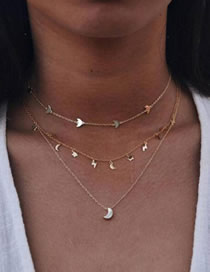 Fashion Gold Star Moon Lightning Pendant Multilayer Alloy Necklace
