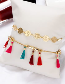 Fashion Gold Hollow Round Rice Beads Fringed Double Alloy Anklet