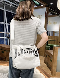 Fashion White Letter Canvas Portable Messenger Bag