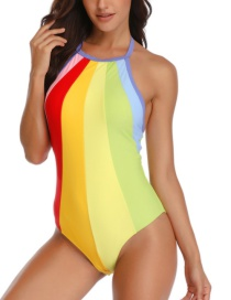 Fashion Color Colorblock One-piece Swimsuit