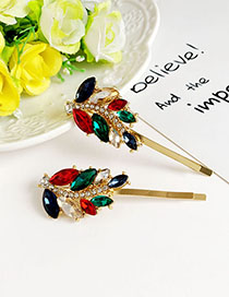 Fashion Alloy + Drill Alloy Studded Leaf Hairpin