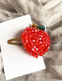 Fashion Red Alloy Felt Cloth Rice Beads Apple Hairpin