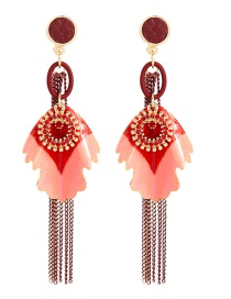 Fashion Silver Needle Red Drip Tassel With Diamond Earrings