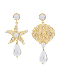 Fashion Gold Star Shell With Diamond Stud Earrings
