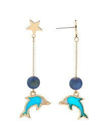 Fashion Gold S925 Silver Needle Drip Dolphins Earrings