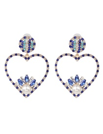 Fashion Blue Love Diamond Stud Earrings