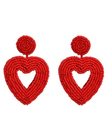 Fashion Red Rice Beads Heart Shaped Earrings