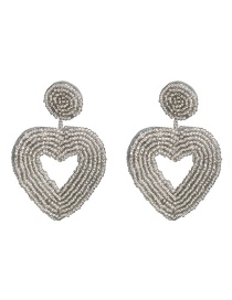 Fashion Silver Rice Beads Heart Shaped Earrings