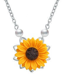 Fashion Silver Sunflower Imitation Pearl Necklace