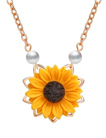 Fashion Rose Gold Sunflower Imitation Pearl Necklace